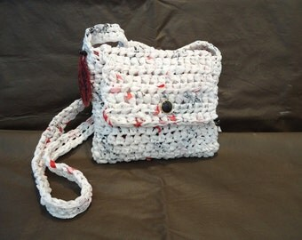 White With Red & Black Recycled Bags Crossover Style Purse by My Spirit Horse Designs