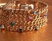 Vintage Bracelet 1960s Mid Century Regency Chain Rhinstones Multi Color