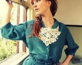 BIG SALE only today % Vintage turquoise Blue Suit with Lace collar gift :)