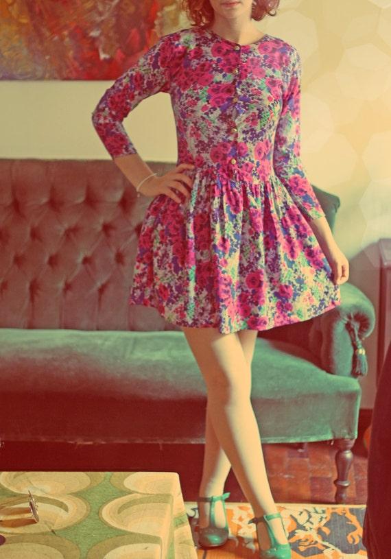 Handmade vintage floral 80's miss victorian dress XS