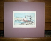 Antique Watercolor of Church