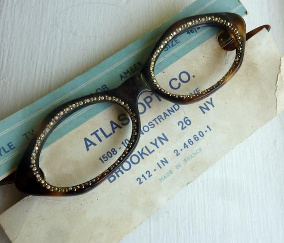 Vintage Women's Rhinestone Eye Glasses Tortoise Shell