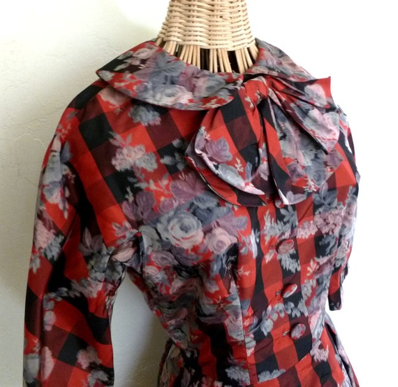 1950's Dress Samuel Winston Red Plaid Print  Full Skirt Medium