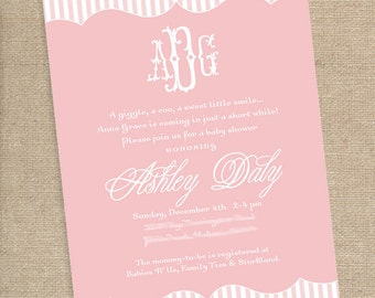 Monogram Baby Shower Invitation