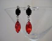 Orange and Black Swarovski Rhinestone Earrings in Silver Plated Settings