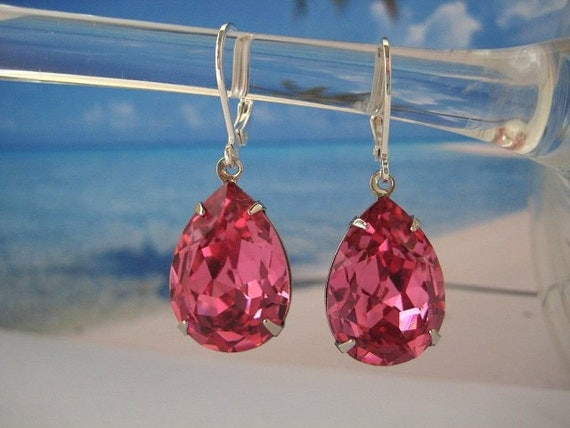 Swarovski Crystal Rhinestone Earrings Large Pink Pears in Silver Settings