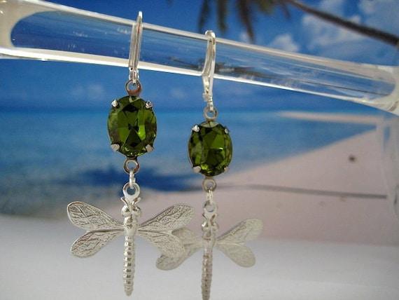 Swarovski Crystal Earrings Olivine Dragonfly in Silver Settings