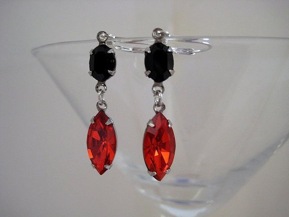 Orange and Black Swarovski Rhinestone Earrings in Silver Plated Settings