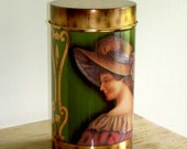 Victorian - VINTAGE - Tin Can -  Made in England - Perfect for Loose Tea or Herbs