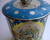 Blue Garden - VINTAGE Tin Can - Spring Time - Perfect for storing loose herbs, tea or baubles.