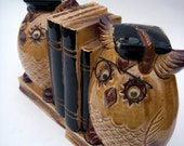 Valedictorian - VINTAGE - Owls / Owl Bookend Coin Banks - Made in Japan - Hand Painted - Office / Study / Graduate