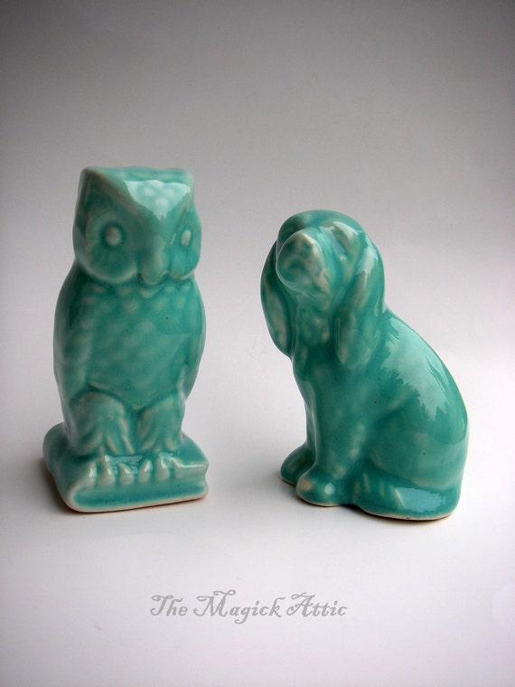 I've got your back - VINTAGE - Turquoise Owl & Dog Statue / Figurines - Animal Totem, vestiesteam
