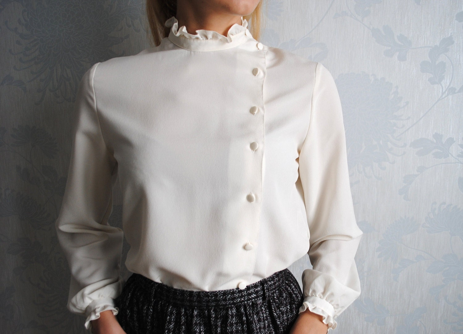 White High Collar Blouse - Tie Blouse