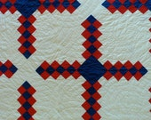 Red, White and Blue 19th century quilt, Broken Irish Chain Pattern variation