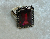 Gorgeous Large Mozambique Garnet Ring with Black Diamonds and 18K gold