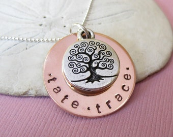 Family Tree Hand Stamped Necklace - Personalized Hand Stamp Jewelry - Celtic Tree Necklace with names