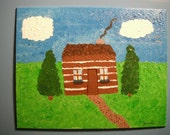 Lone Log Cabin / acrylic painting / 8x10  canvas panel