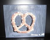 Pretzel Still Life  / Acrylic Painting / 8x10 Stretched Canvas / kitchen decor