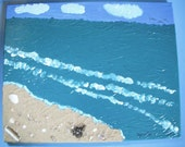Beach Memories / mixed media / 16x20 acrylic  painting /  REAL Beach sand and shells