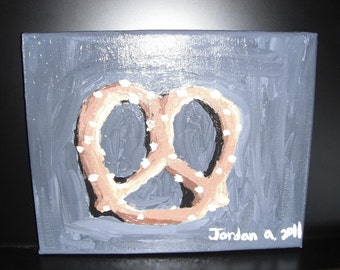Pretzel Still Life  / Acrylic Painting / 8x10 Stretched Canvas / kitchen decor