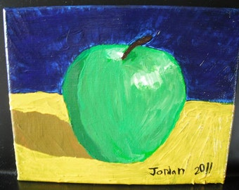 Granny Smith Apple acrylic fine art original painting on 8x10 canvas