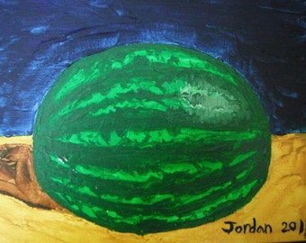 Watermelon still life /  acrylic painting on canvas by Maine teen artist