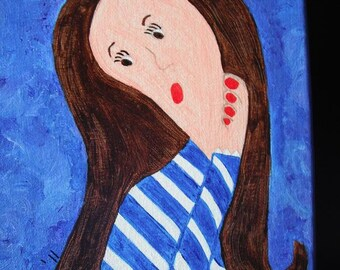 Pondering Brunette acrylic painting on 8x10 stretched canvas