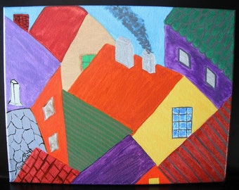 Patchwork Rooftops 11x14 original acrylic painting on canvas