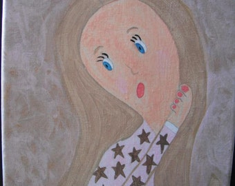 Pondering Sandy Hair Girl  acrylic painting on 8x10 stretched canvas