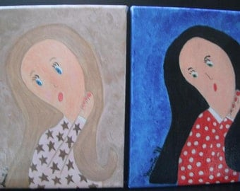 Pondering Black Hair Girl acrylic painting on 8x10 stretched canvas
