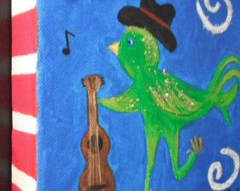 Tennessee Birdwalk original acrylic painting on canvas / Whimsical Painting / Acrylic Painting / Chunky Canvas