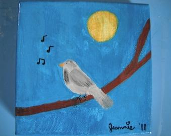 Sweet Tweet  original gouache painting on canvas