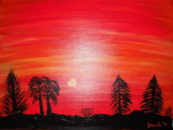 Sunset Glow landscape acrylic painting on canvas 18x24 inches