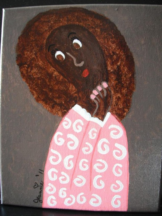 Pondering African American Girl acrylic painting on stretched canvas 8x10