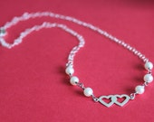 Sterling silver twisted ring Necklace with Sterling Silver Double hearts charm pendant, Fresh water pearls