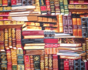 Books Gold Thread Library Book Shelves Cotton Fabric Fat Quarter or Custom Listing