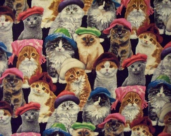 Cats With Fun Hats Cotton Fabric OOP
