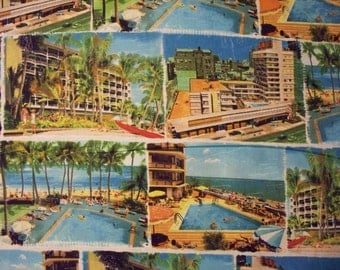 Vintage Resort Tropical Hotel Cotton Fabric Fat Quarter or Custom Listing