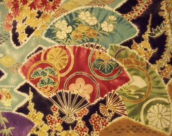 Asian Metallic Geisha Fans Purple Green Cotton Fabric Fat Quarter Or Custom Listing