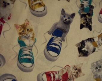 Cats Tennis Shoes Cream Cotton Fabric Fat Quarter or Custom Listing