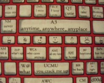 Computer Keyboard Type Typing Text Red Cotton Fabric Fat Quarter Or Custom Listing