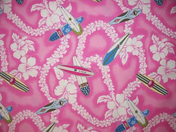 Mini Surf Surfboards Pink Floral Hawaiin Surfing Cotton Fabric