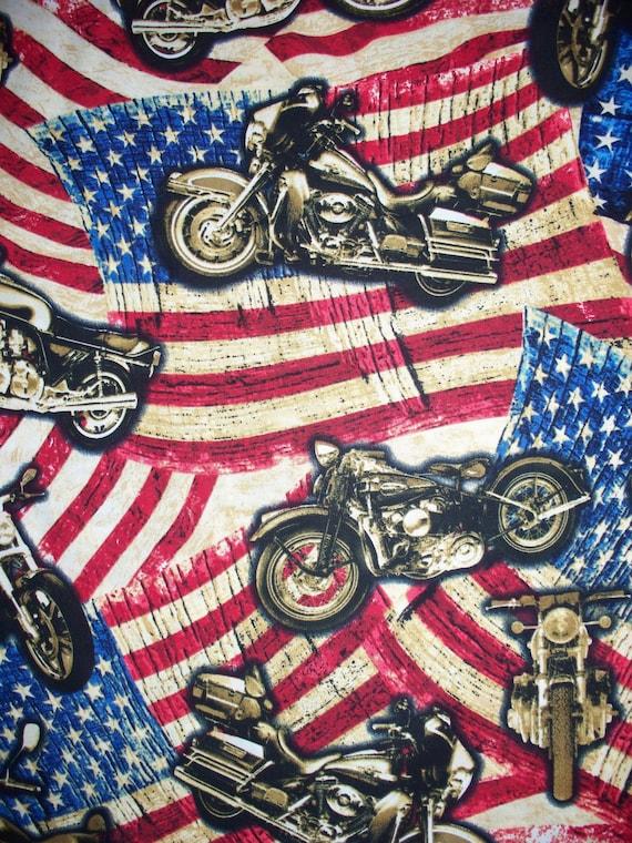 Motorcycle Harley USA Bike Flag Cotton Fabric