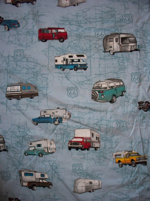 Retro VW Bus Camper Motorcycle Route 66 Map Blue Cotton Fabric