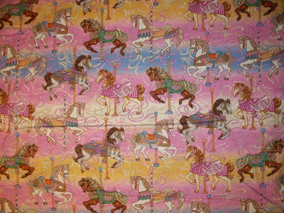 Carousel Horses Painted Pony Pastels Cotton Fabric OOP
