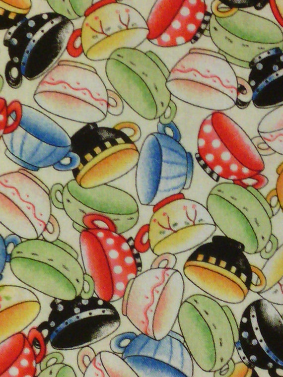 Coffee Tea Cups Bright Cotton Fabric OOP