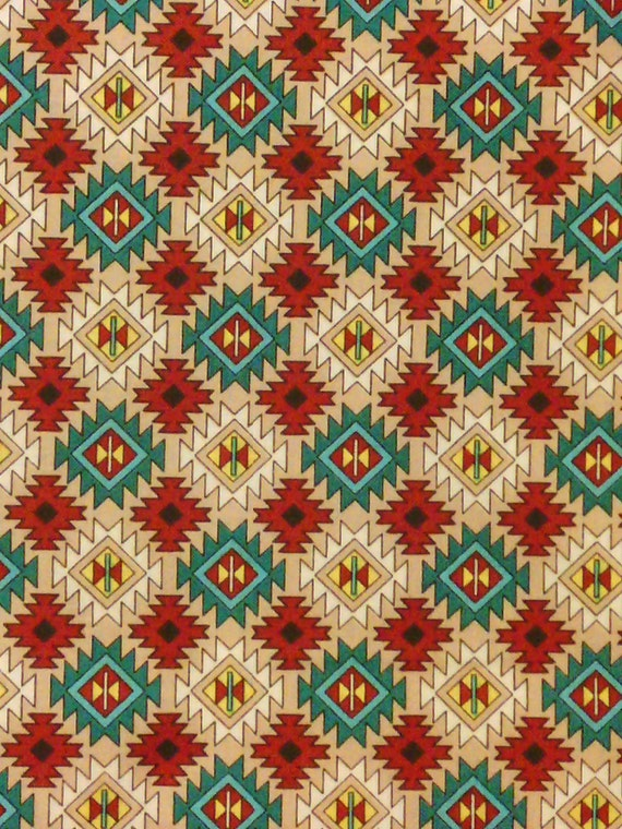 Native America Najaho Cream Cranberry Teal Cotton Fabric OOP