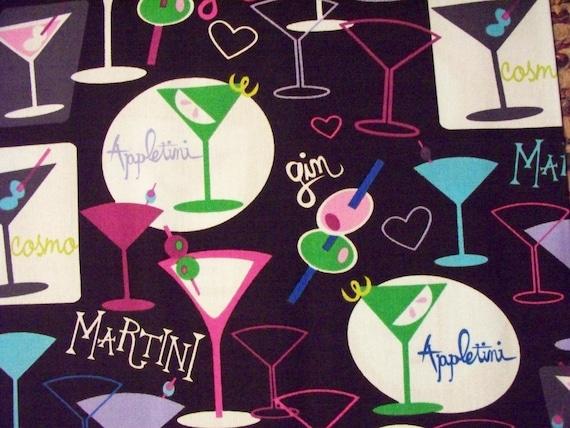 Martini Glasses Purple Cotton Fabric OOP