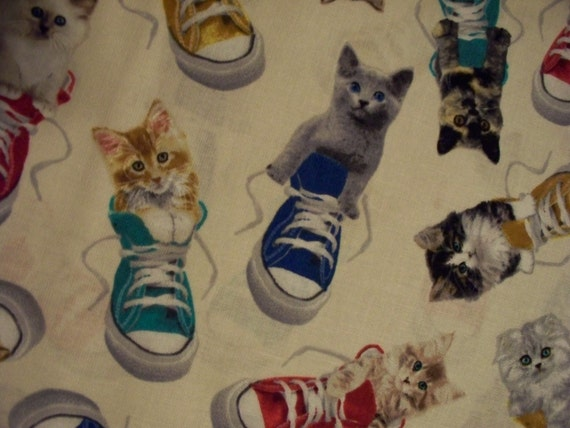 Kitties Cats In Tennis Shoes Cream Cotton Fabric OOP