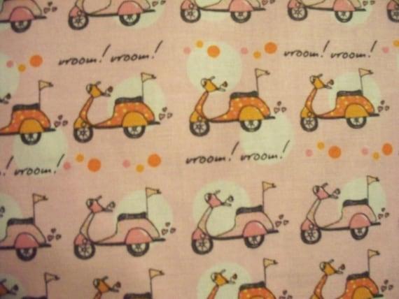 Vespa Scooters Vroom Pink Orange Cotton Fabric OOP